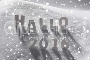 White Christmas Word Hallo 2016 Means Hello On Snow, Snowflakes