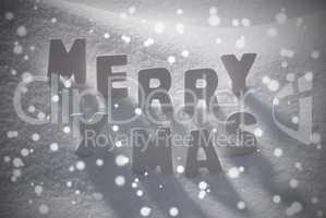 White Christmas Text Merry Xmas On Snow, Snowflakes
