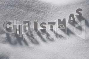 White Word Christmas On Snow