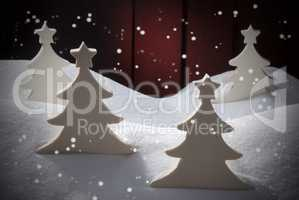 Four White Wooden Christmas Trees, Snow, Snowflakes