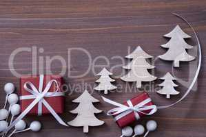 Red Christmas Gifts, Present, White Ribbon, Tree, Copy Space