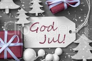 Label Gift Tree Snowflakes God Jul Means Merry Christmas