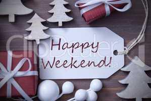 Christmas Label Gift Tree Happy Weekend