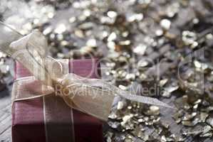 One Red Christmas Gift, Present, Copy Space, Glitter, Ribbon