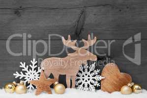 Golden Gray Christmas Decoration, Snow, Moose, Hear, Snowflake