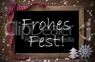 Chalkboard Decoration Frohes Fest Means Christmas, Snowflakes