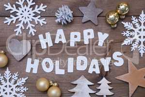 Wooden Background, Happy Holidays, Golden Christmas Decoration