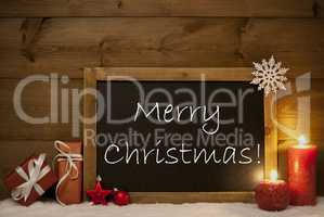 Festive Card, Blackboard, Snow, Candles, Merry Christmas