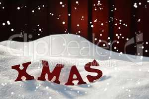Christmas Card With Red Letters Xmas, Snow, Snowflakes