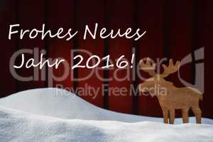 Christmas Card With Jahr 2016 Mean New Year And Moose