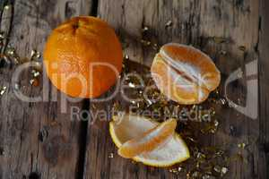 Christmas Food, Orange Fruit, Glitter On Wooden Background