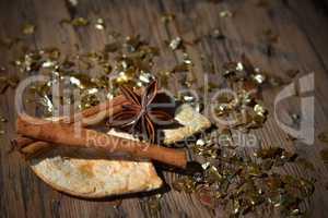 Christmas Food Decoration, Orange Cinnamon, Anise, Glitter