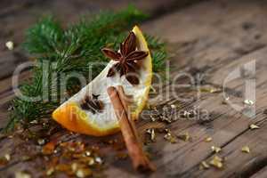 Christmas Food Decoration, Orange, Cinnamon, Fir Branch, Anise