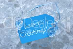 Blue Label On Ice With Seasons Greetings