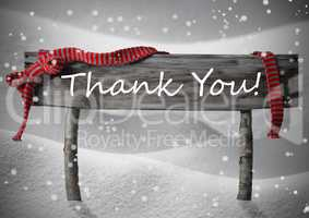 Gray Christmas Sign Thank You, Snow, Red Ribbon, Snowflakes