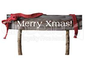 Brown Isolated Christmas Sign Merry Xmas, Red Ribbon