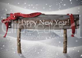 Brown Christmas Sign Happy New Year Snow, Red Ribbon, Snowflake