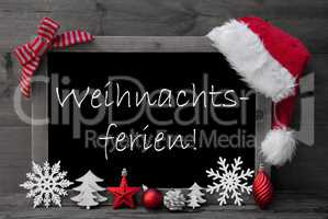 Blackboard Santa Hat Weihnachtsferien Means Christmas Holiday