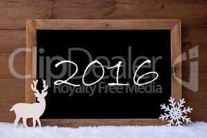 Christmas Card, Blackboard, Snow, Reindeer, 2016