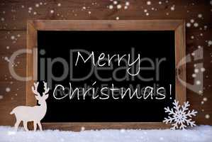 Card, Blackboard, Snowflakes, Reindeer, Merry Christmas