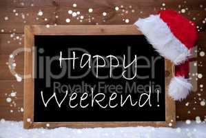 Christmas Card, Chalkboard, Happy Weekend, Snowflakes, Snow