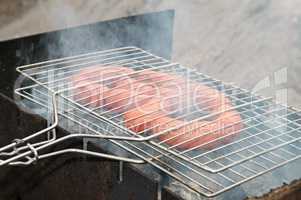 barbecue with grilled sausage