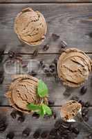 Top view coffee ice cream
