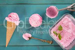 Top view pink ice cream