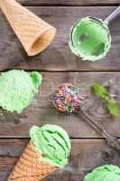 Top view matcha ice cream cone