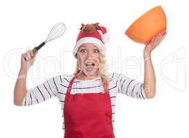 Weihnachtsfrau mit Rührschüssel und Quirl