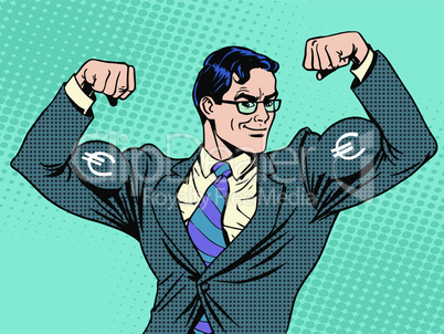 Businessman with muscles currency Euro