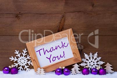 Purple Christmas Decoration, Snow, Thank You