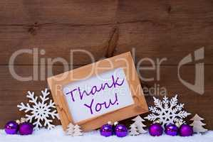 Purple Christmas Decoration, Snow, Thank You
