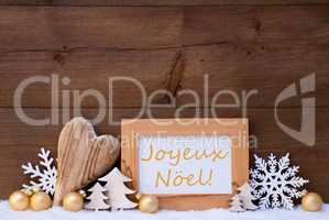 Golden Decoration, Snow, Joyeux Noel Mean Merry Christmas