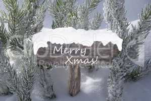 Sign Snow Fir Tree Branch With Text Merry Xmas