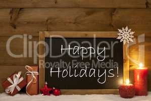 Festive Christmas Card, Blackboard, Snow, Candle, Happy Holidays