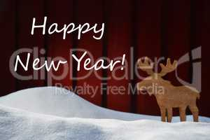 Christmas Card With Happy New Year, Snow And Moose