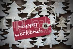 Red Christmas Label With Happy Weekend