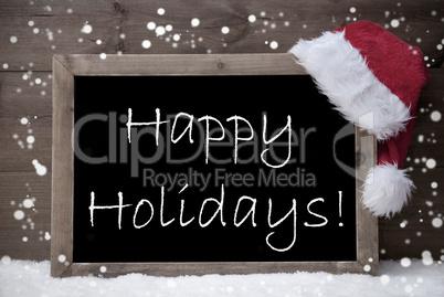Gray Christmas Card, Blackboard, Happy Holidays, Snow