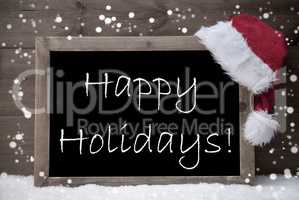 Gray Christmas Card, Blackboard, Happy Holidays, Snow