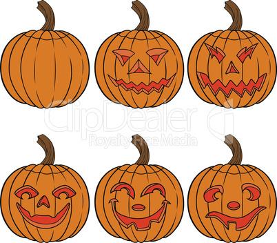 Halloween set of six orange pumpkin