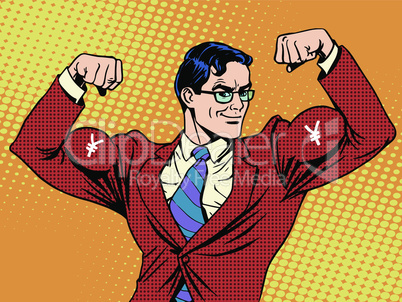 Businessman with muscles currency yen