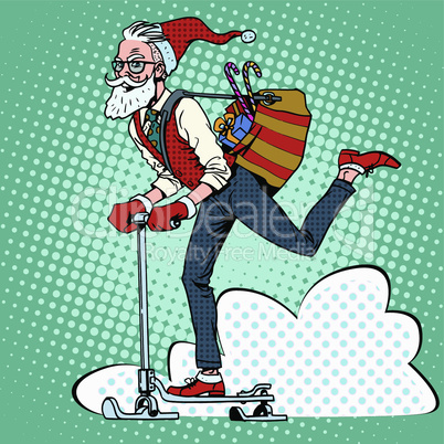 Hipster Santa Claus spreads the Christmas gifts on a scooter sled