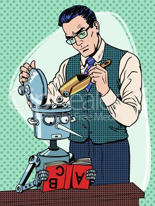 Education scientist teacher robot student