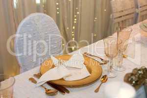 Luxurious wedding dinner in golden theme