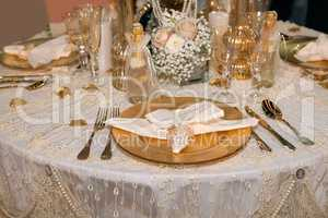 Luxurious wedding dinner with golden theme