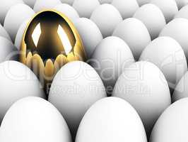 big golden egg in the crowd uniqueness concept