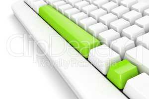 keyboard with bright green exclamation mark. white