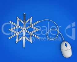 snowflake depicted by computer mouse cable over blue