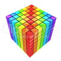 rainbow-colored cube isolated over white background spectrum
